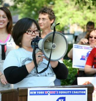 Speaking at the Rally for Women's Equality in Susan B. Anthony Park - 2013