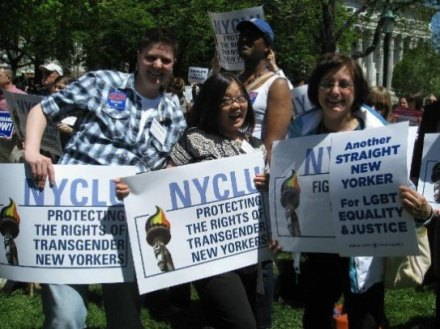 Rallying for LGBT rights in Albany - 2011